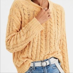 American Eagle Mustard Cable knit Sweater